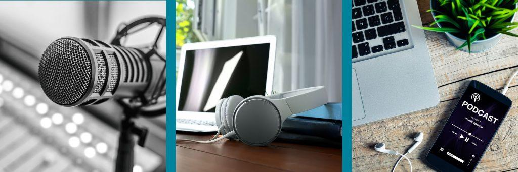 Bild Podcast-Produktion (Mikrofon, Headset und Podcast auf dem Smartphone)