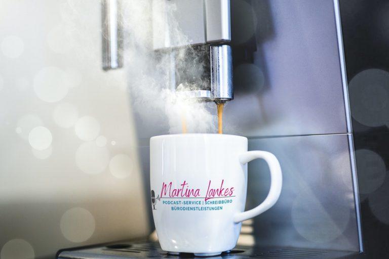 Kaffeetasse Martina Lankes Bürodienstleistungen Podcast-Service Schreibbüro