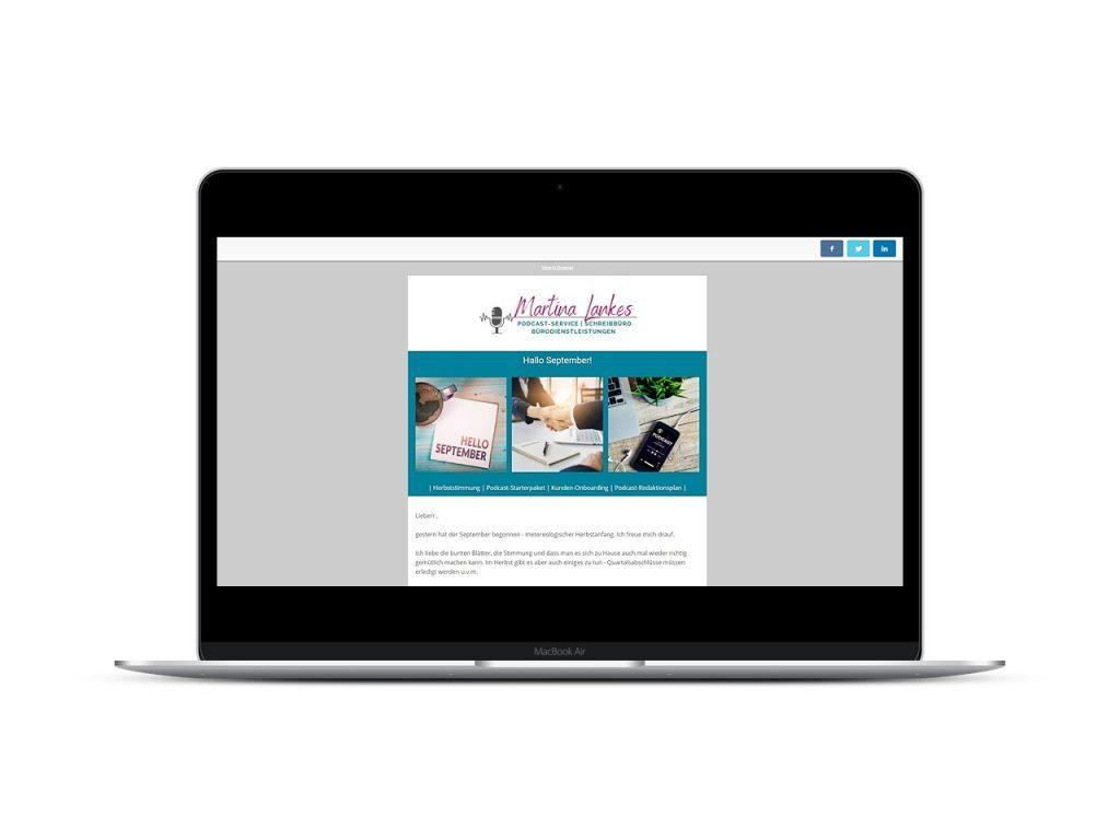 Vorschau Newsletter bueroservice-lankes.de auf dem Laptop